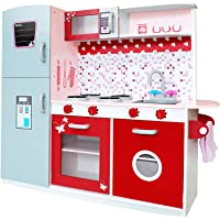 Keezi Kids Kitchen Set Pretend Play Wooden Toys Cooking Cookware Childrens