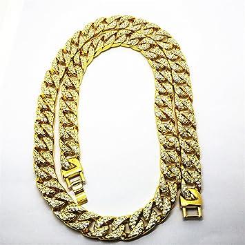 3bb21f62bb1 LUOEM élégant collier pour homme Hip Hop Jewelry diamants d imitation de cristal  diamant collier de chaîne de maillons plaqué or de Cuba 75 cm  Amazon.fr   ...