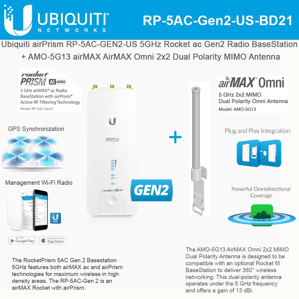 Rocket Prism RP-5AC-GEN2-US 5GHz AC airPrism BaseStation with Omni Antenna AMO-5G13 13dBi by UBNT Systems
