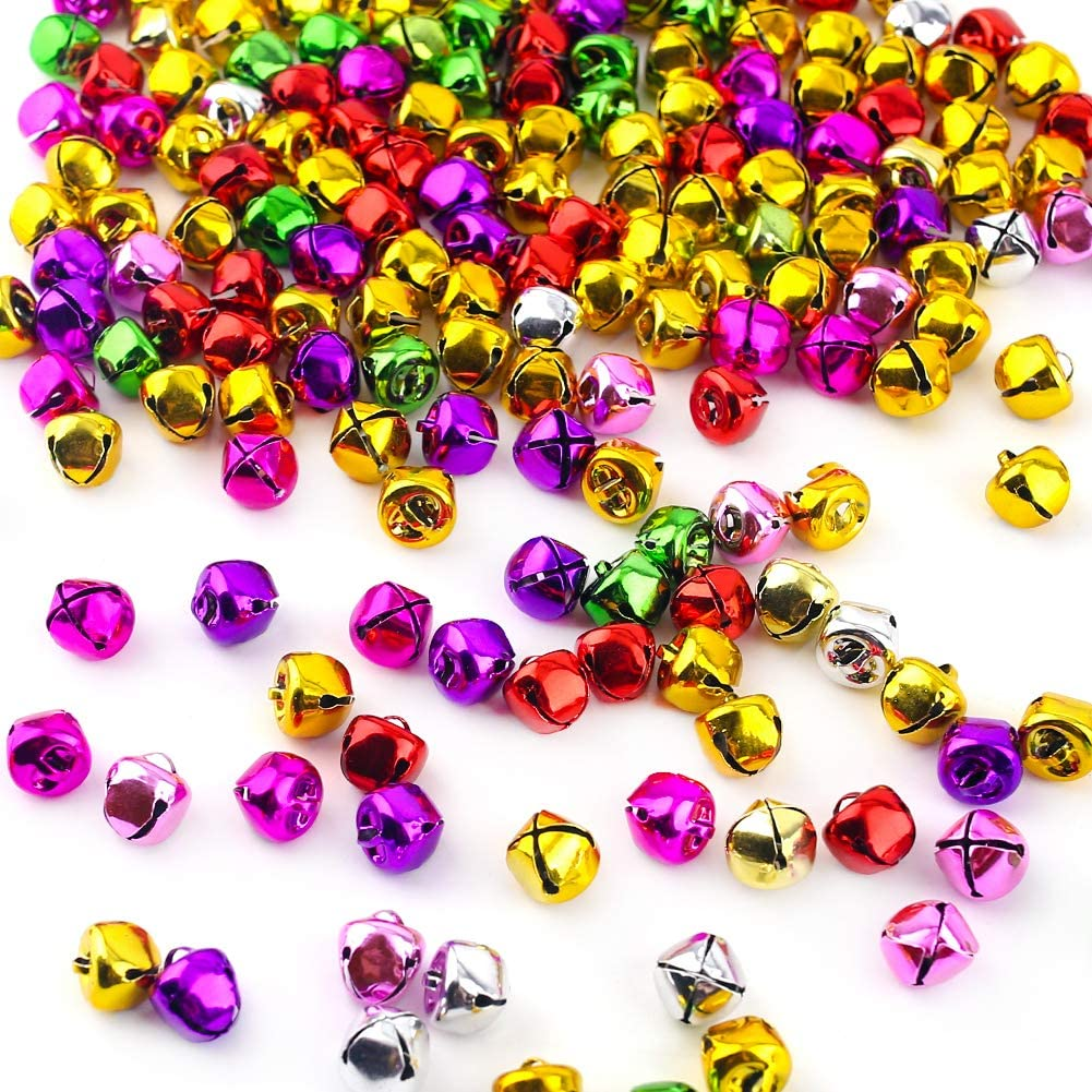 Jingle Bells, 200PCS Craft Bells 0.5 inch Multi-Color Bulk DIY Bells for Christmas Festival Wreath Decor Holiday Home Decor