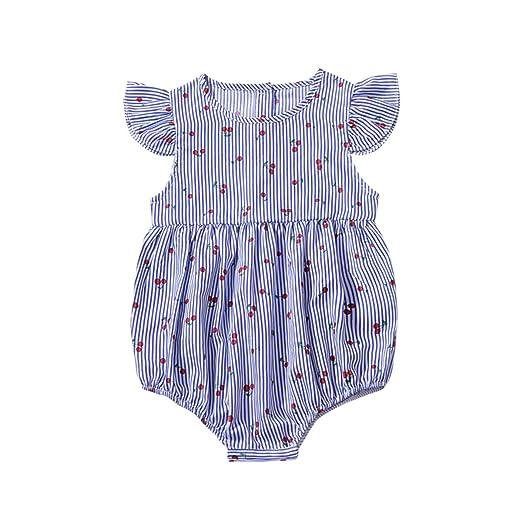 4d7184e1dc98f Kids Newborn Baby Girls Jumpsuit Romper Outfits Stripe Cherry Print Buttons  Ruffles Bodysuit Summer Clothes Set