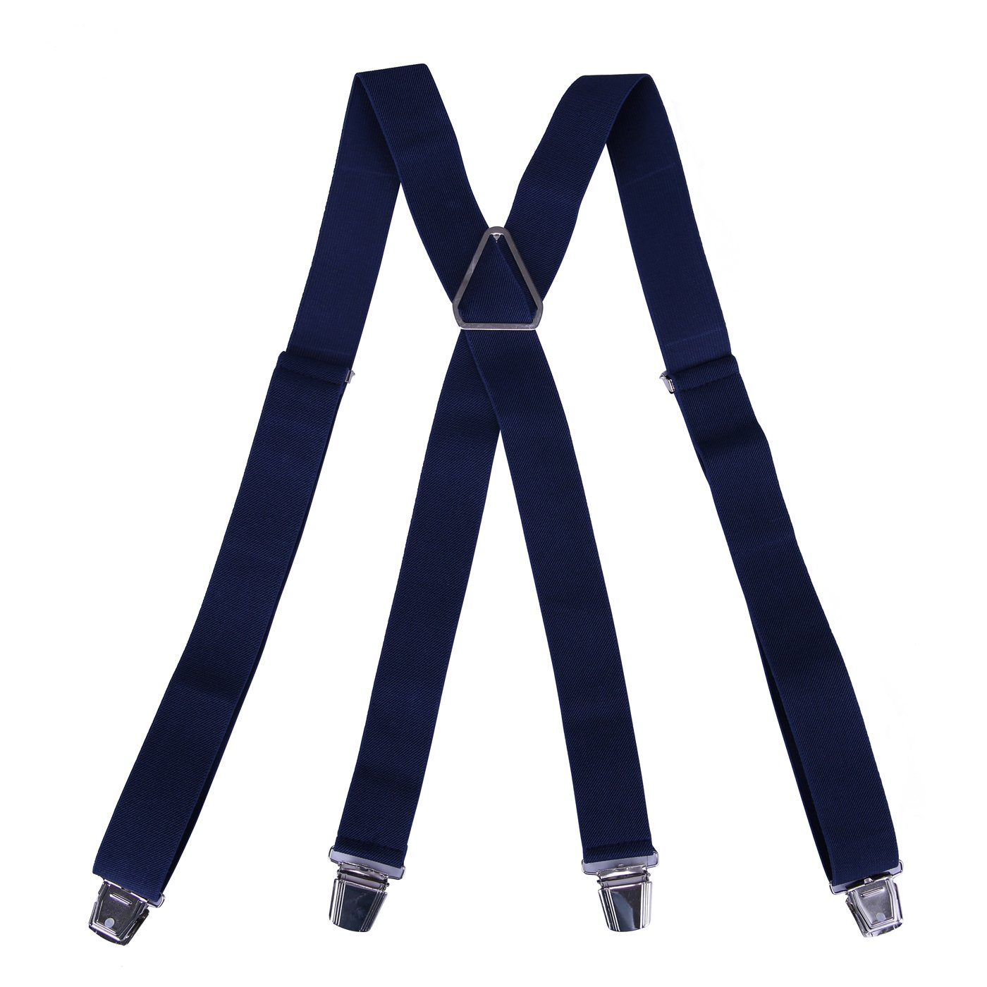 HDE Mens Solid X-Back Suspenders - 1.5 Inch Adjustable Straight Clip On Braces (Navy, 48 inches)