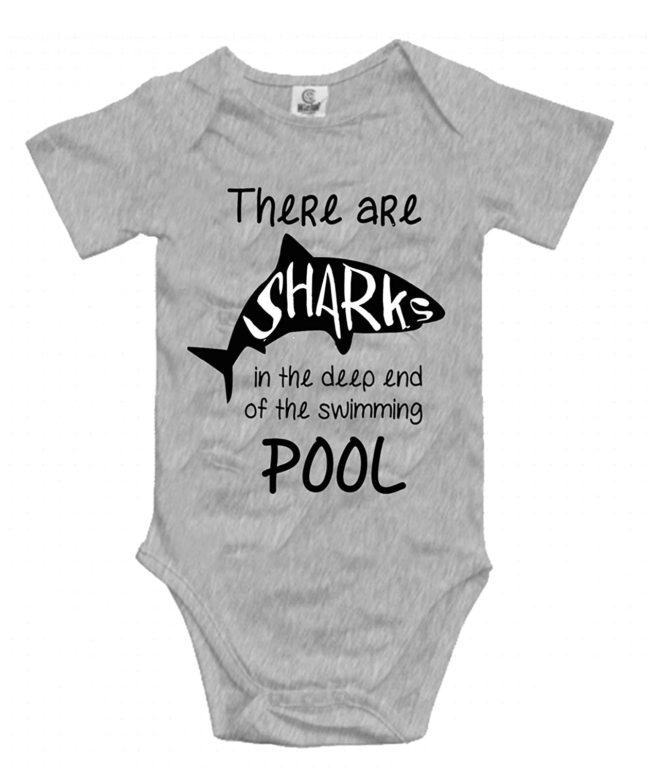 5c1962335509 Amazon.com  There are Sharks in The Deep End The Swimming Pool Unisex Baby  Short-Sleeve Onesies Cotton Bodysuits Infant Romper Clothes  Clothing
