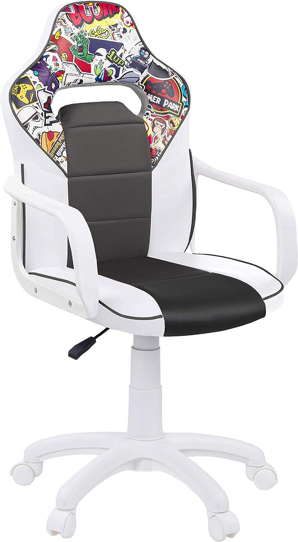 Silla de Escritorio, Estudio o Despacho, Sillon Gaming Acabado en Color Blanco-Gris y Stickers, Medidas: 60 cm (Ancho) x 60 cm (Fondo)