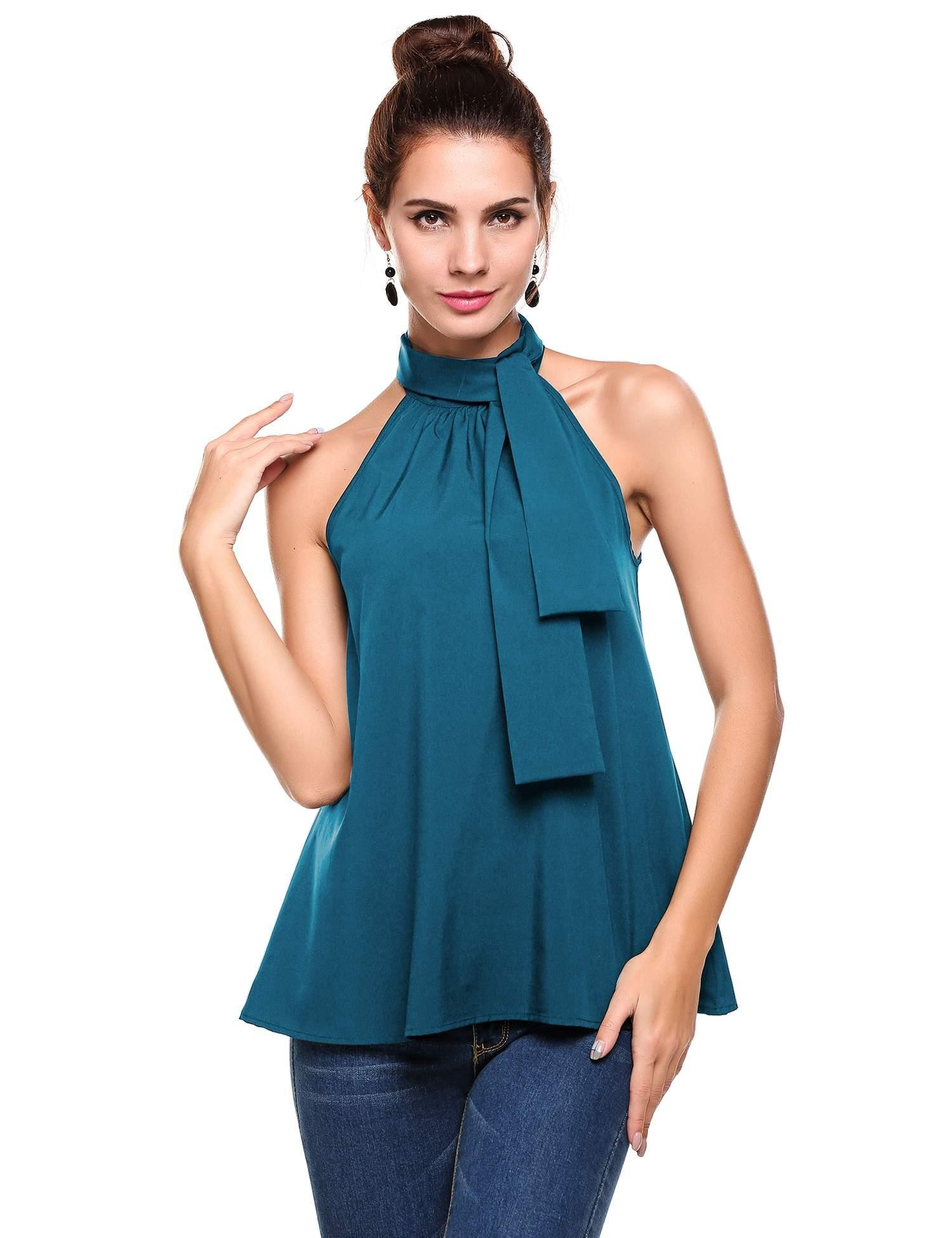 ThinIce Women Summer Sleeveless Office Blouse Halter Tie Back A Line Tank Shirt, Peacock Blue, 3X
