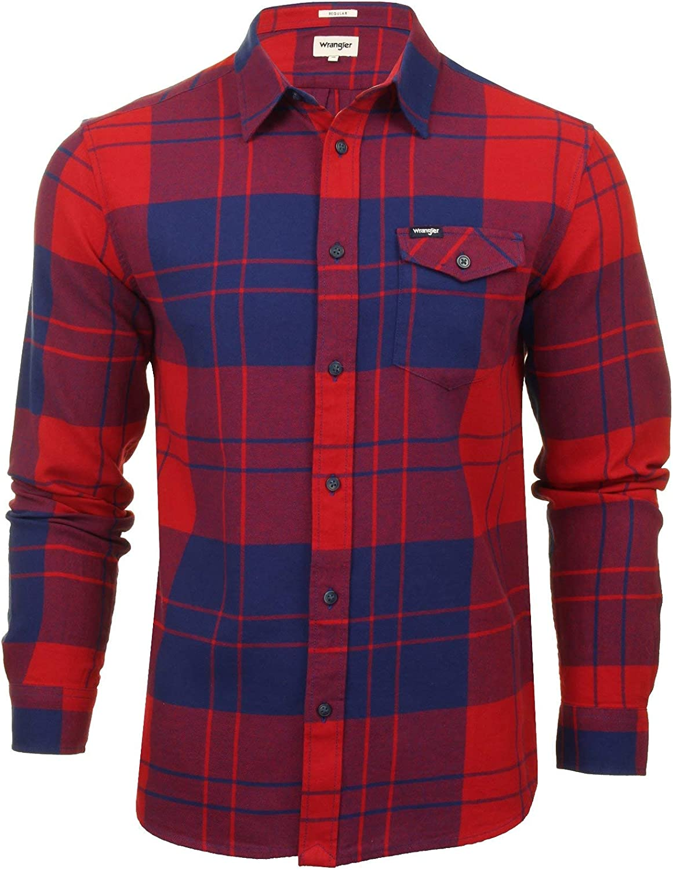 Wrangler Camisa de manga larga para hombre con solapa.