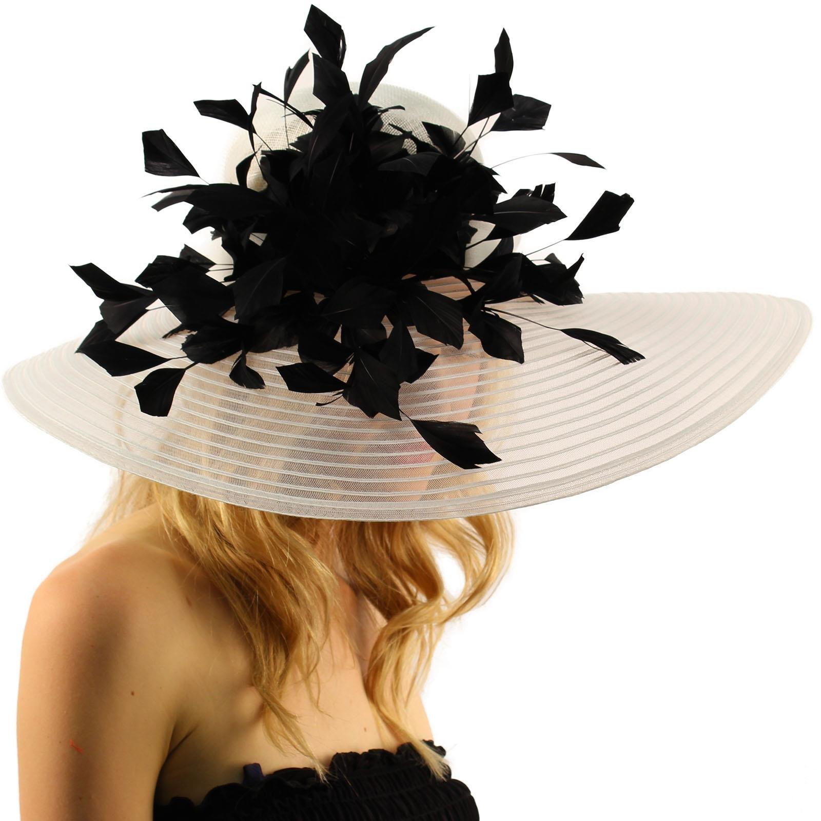 Spectacular Spray Feathers Sinamay Derby Floppy Wide Brim 7'' Dress Hat White/Black