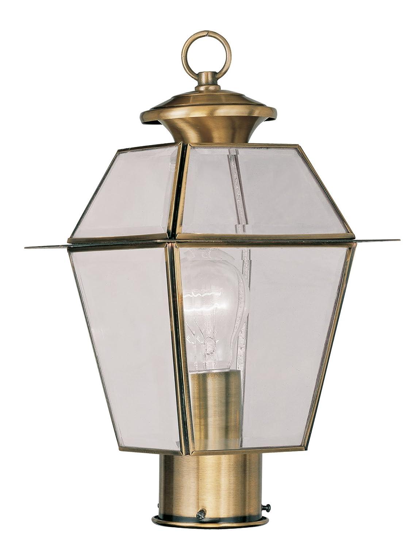 Livex Lighting 2182-01 Westover 1-Light Outdoor Post Head, Antique Brass by Livex Lighting B008N01EEK
