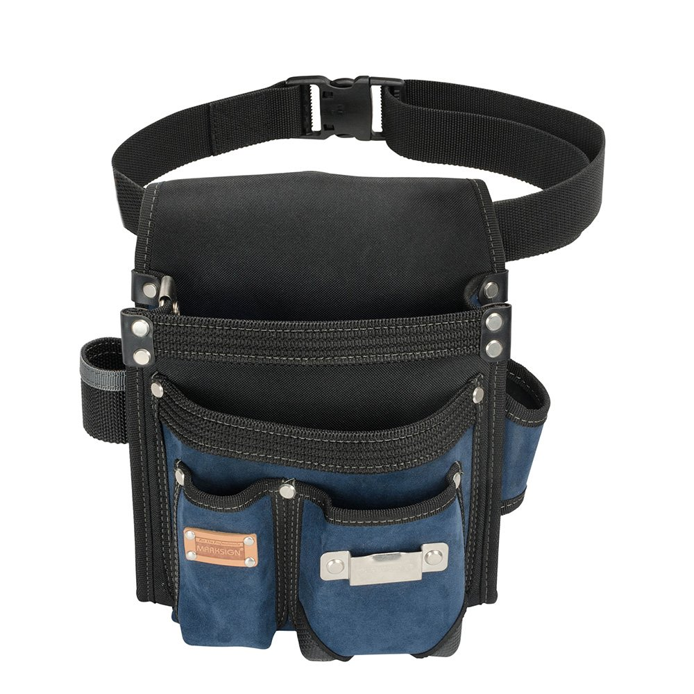 Heavy Duty Technician and Electrician's Waist Tool Bag with Multiple Pockets, Tool Organizer, EVA with Suede Lamination, Heavy Duty and Super Strong Construction, 1.5 inch Adjustable Nylon Waist Belt