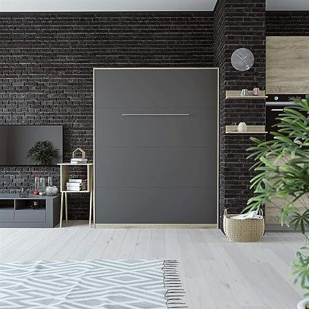 SMARTBett Standard Cama abatible Cama Plegable Cama de Pared (Roble Sonoma/Antracita, 160 x 200 cm Vertical Standard): Amazon.es: Hogar