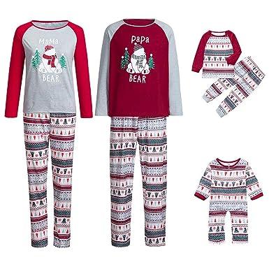 28ae537a9d Amazon.com  Family Matching Christmas Pajamas Xmas Pajamas Sets Letter Sleepwear  Sets Nightwear Adults Kids Pajama PJ Set Outfit  Clothing