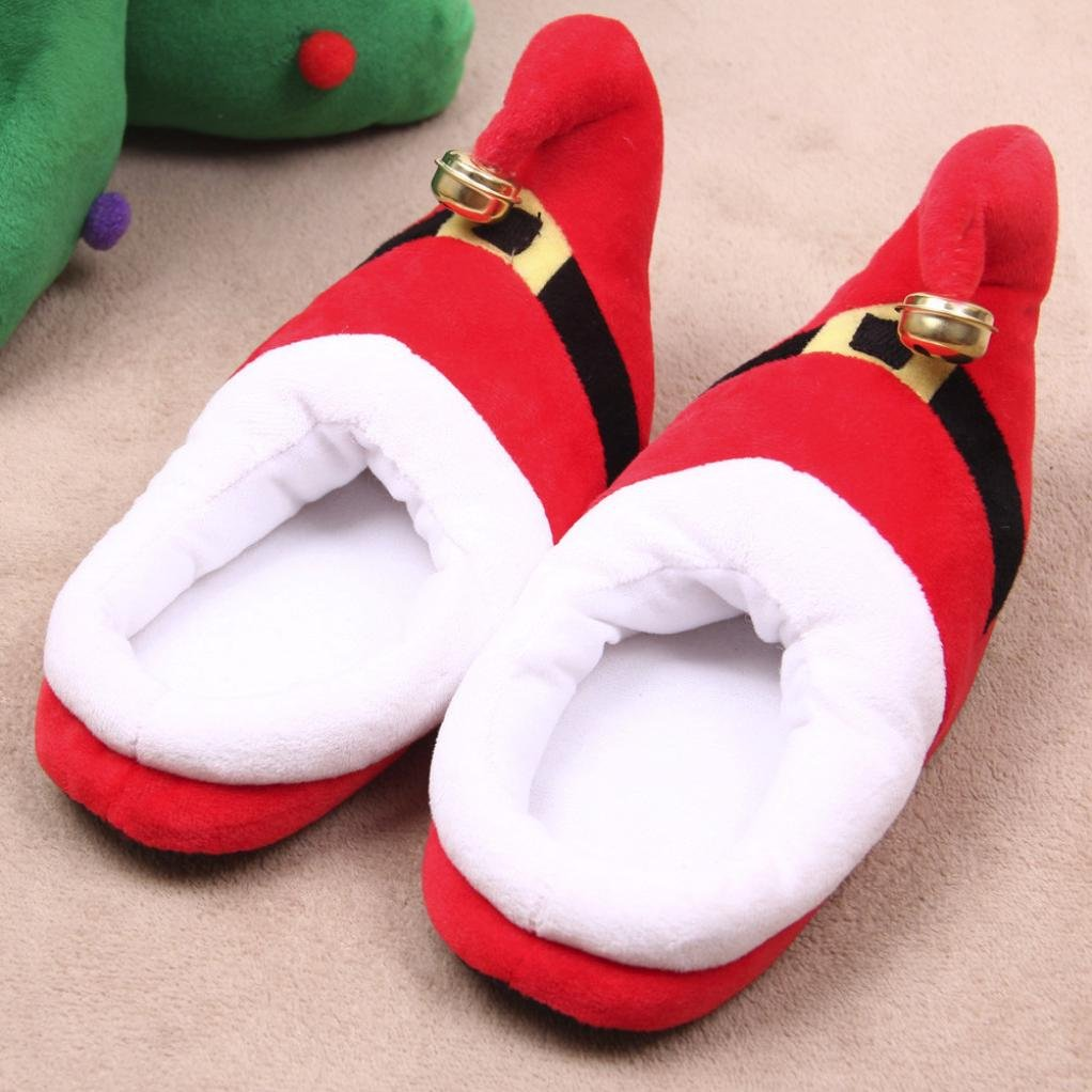 Fabal Unisex Plush Cotton Home Slippers Winter Warm Indoor Christmas Slippers Shoes