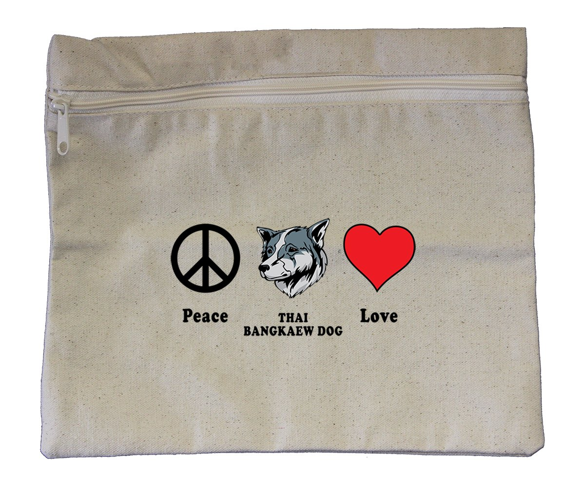 Canvas Zipper Pouch Bag 10''X12'' Peace Love Thai Bangkaew Dogdog Style In Print by Style in Print
