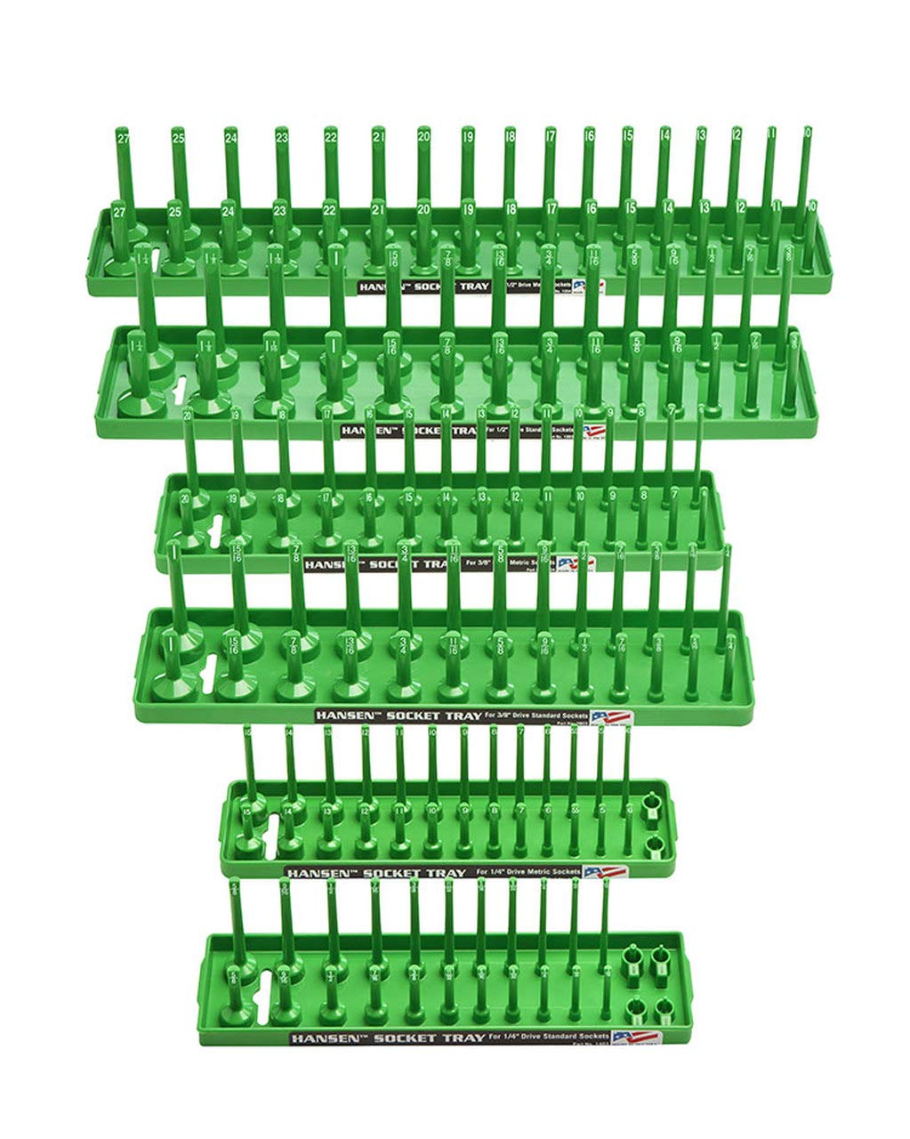 Hansen Global 92001 SAE & Metric, 2-Row Socket Tray Set - 6-Pieces, Green by Hansen Global