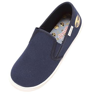 6cc371a032fe62 Zapato Kinder Sneaker Slipper Freizeitschuhe Unisex Mädchen Jungen Navy  blau mit Emoji® Smiley gelb Gr