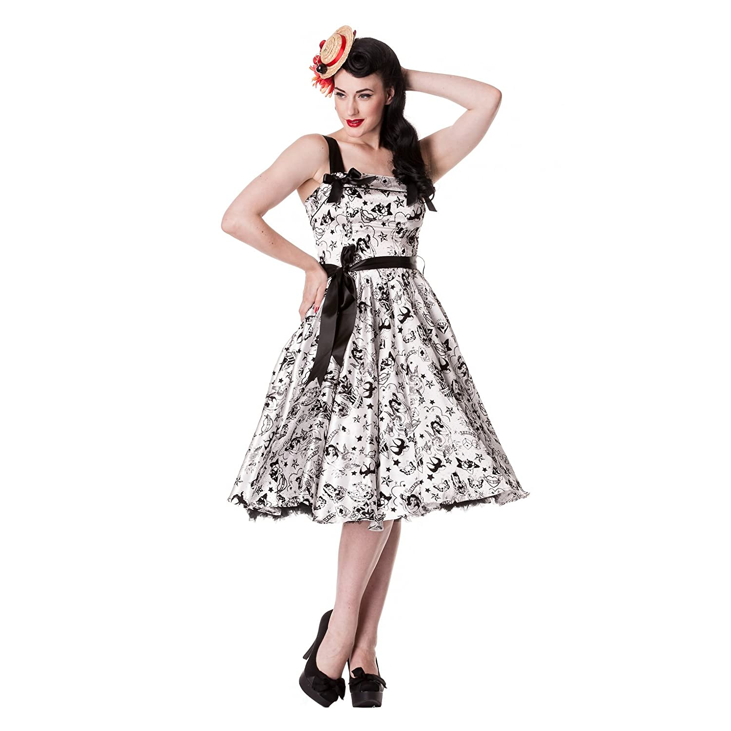 Hell Bunny Kleid TATTOO FLOCK DRESS: Amazon.de: Bekleidung