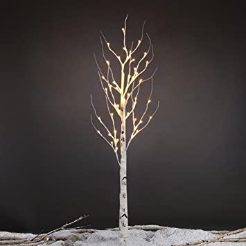 Excelvan Birch Tree Light Lamp 1.2m/4ft 48 LED Bendable Outdoor Tree Lights  White