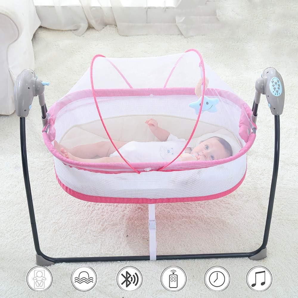2020 Baby Bouncer, Cuna EléCtrica Inteligente Con Cuna Bluetooth Con Control Remoto, CóModa, Suave Y Transpirable, OscilacióN AutomáTica, FuncióN De TemporizacióN, Plegado PortáTil,Pink-A