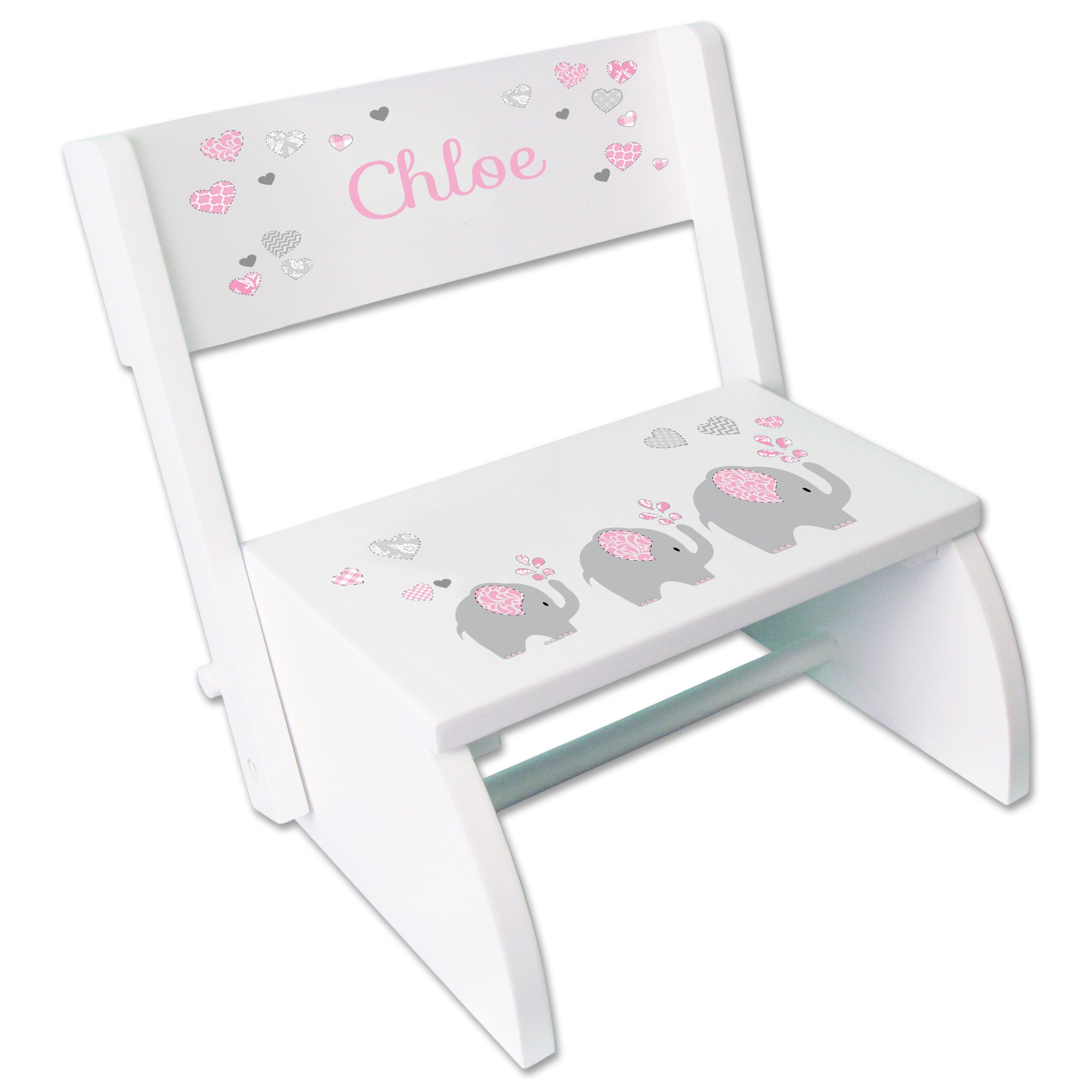 Personalized Pink Elephant Childrens and Toddlers White folding stool