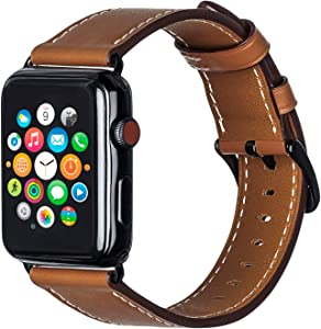 ALADRS Watch Straps Compatible with Apple Watch Leather Band 44mm 42mm, Wristbands Replacement for iWatch Series 6 5 4, SE (44mm) Series 3 2 1 (42mm), Brown