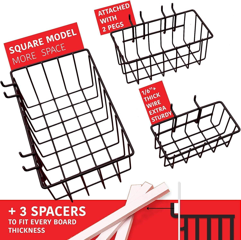 ETE ETMATE 57pcs Surtido de ganchos para tableros de clavijas Organizador de tableros de clavijas 1//4 pulg Los accesorios para tableros de clavijas para herramientas pueden transportar objetos pesados