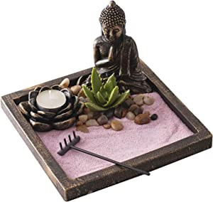 New Japenese Zen Sand Garden | Ideal Desk Decor to Enhance Mindfulness and Practice Meditation During the Day | Bronze Finish with Pink Sand by Existentials