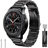 Band for Gear S3 Frontier / Classic, GHIJKL Stainless Steel Metal Replacement Bracelet Starp for Samsung Gear S3 Frontier / S3 Classic Sports Smart Watch Fitness, Metal Black