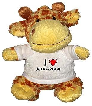 Jirafa de peluche (juguete) con Amo Jeffy-pooh en la camiseta (nombre