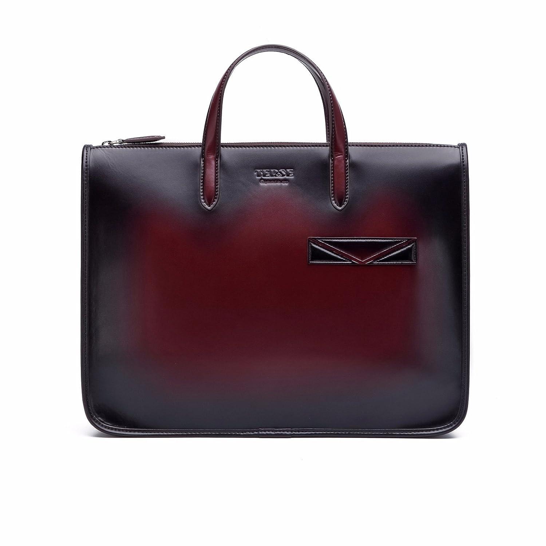 TERSE Men s Briefcase Genuine Leather Handmade Laptop Sleeve Case Business  Office Bag Handbag Waterproof Customized Logo (Claret) TS308C   Amazon.co.uk  ... 07666b171ed35