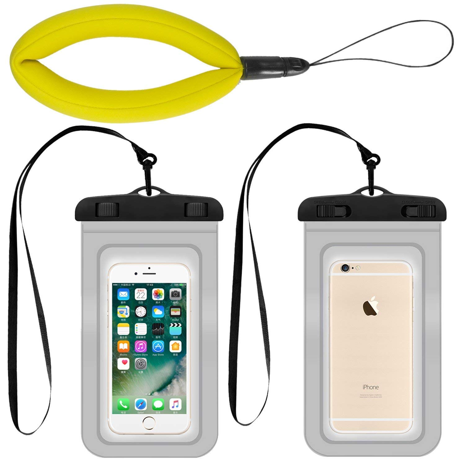 3 Pack Waterproof Camera Float and Phone Case, Universal Phone Pouch