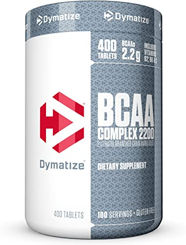 Dymatize BCAA Complex 2200, Promotes Muscle Regeneration, Time Released Aminos, 400 Tablets
