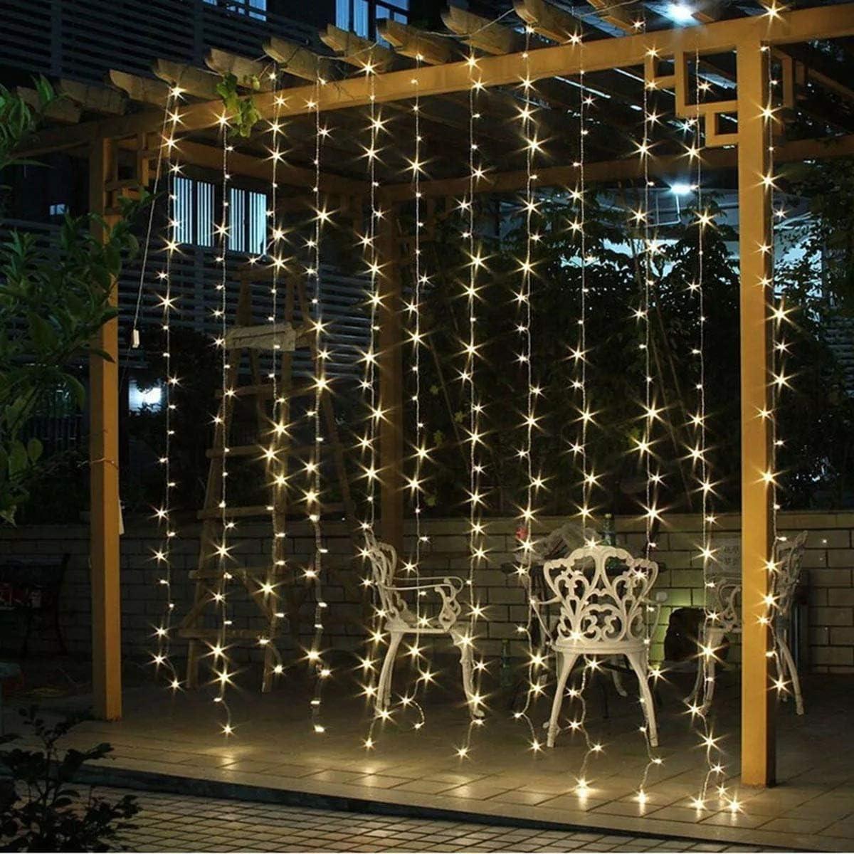 PEJGD 3M 3M USB * 8 modos de batería Operado boda Cortina LED cadena fiesta de cumpleaños de Navidad luz decoración Perfecto para (Color : Blanco cálido): Amazon.es: Iluminación