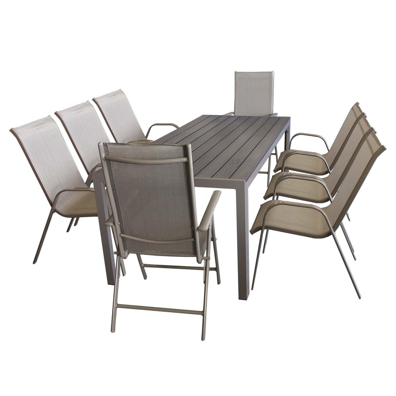 9tlg Gartengarnitur Alu / Polywood Tisch 205x90cm + 6x Stapelstuhl + 2x Hochlehner Gartenmöbel Terrassenmöbel Set Sitzgruppe Sitzgarnitur