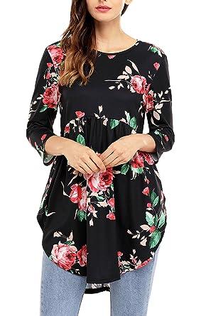 e0b99ed29d8a1f Amazon.com  AlvaQ Womens Summer 3 4 Sleeve Sexy Floral Blouses Juniors  Fashion 2017 Plus Size Ruffle Tops Work Tunic Black