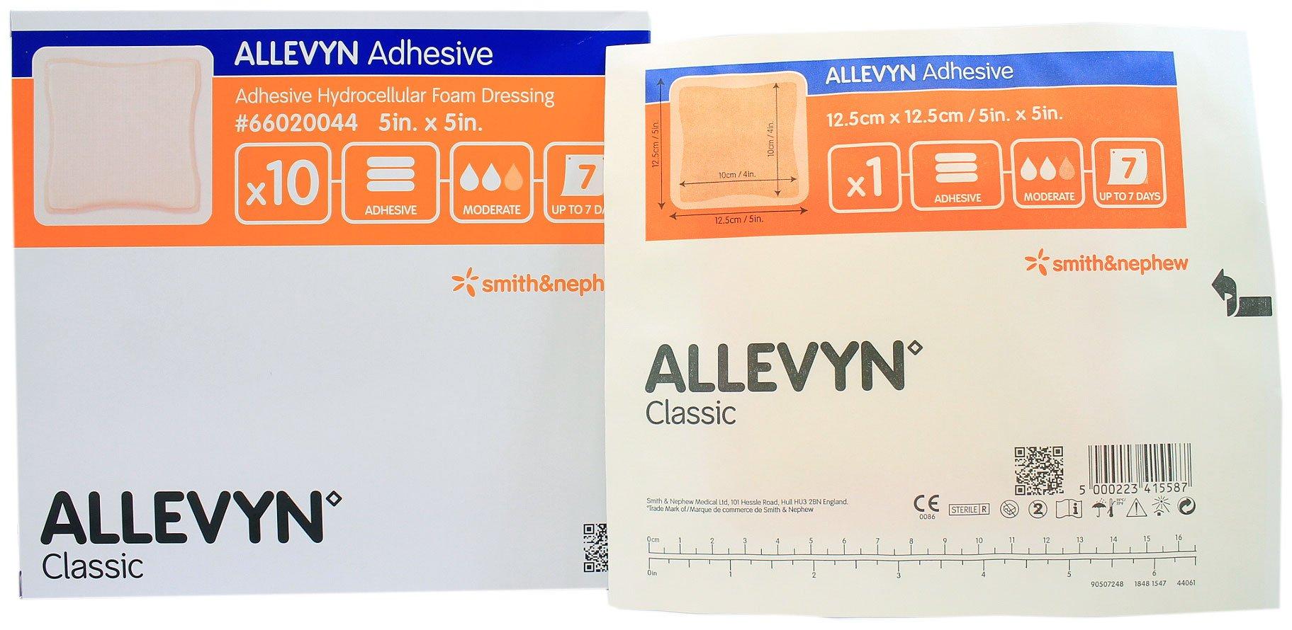 Smith Nephew 66020044 Allevyn Adhesive Foam Dressing 5'' x 5'' - Box of 10 by Allevyn