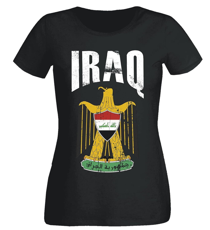 Damen T-Shirt Irak WM 2018 . Vintage Destroy SC Wappen D01
