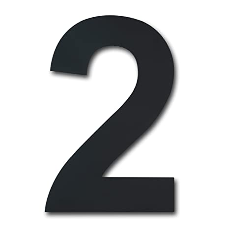 Número de casa moderno cepillado,152 mm de altura, hecho de acero inoxidable 304 sólido, chapado en negro (Número 2 Dos)