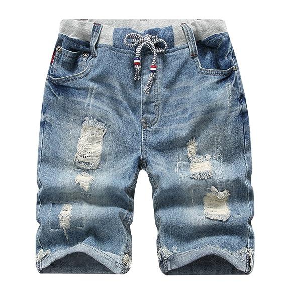 0b33c9b7731c58 YoungSoul Jungen Bermuda Shorts - Jeansshorts mit Abschürfungen - Kinder  Sommer Cargo Kurze Hose Gr. 110-176  Amazon.de  Bekleidung