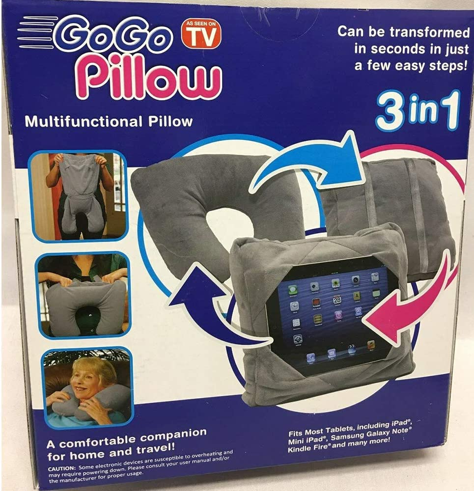 as seen on tv 3 in 1 multifunction gogo pillow grey