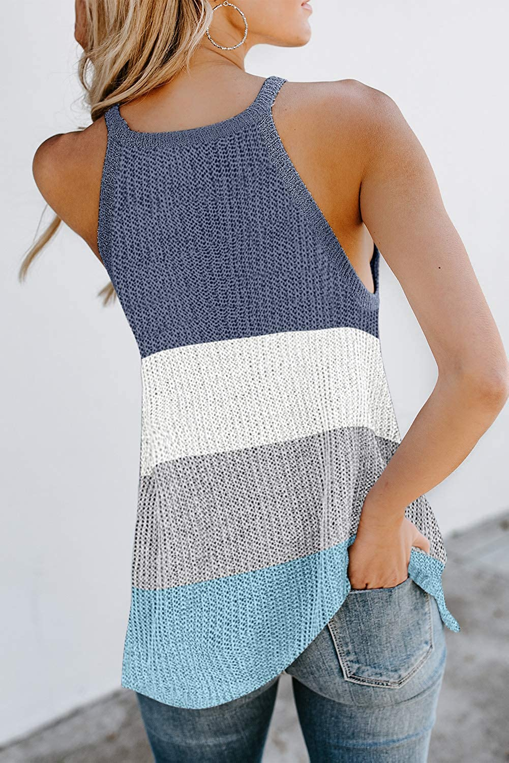Bakoliza Womens Summer Knit Tank Tops Casual Loose Sleeveless Color Block Striped Camis Blouse Shirts Summer Sweater Vest