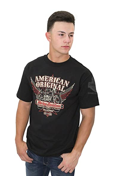 Harley Davidson Mens American Original Pinstripes Black Short Sleeve