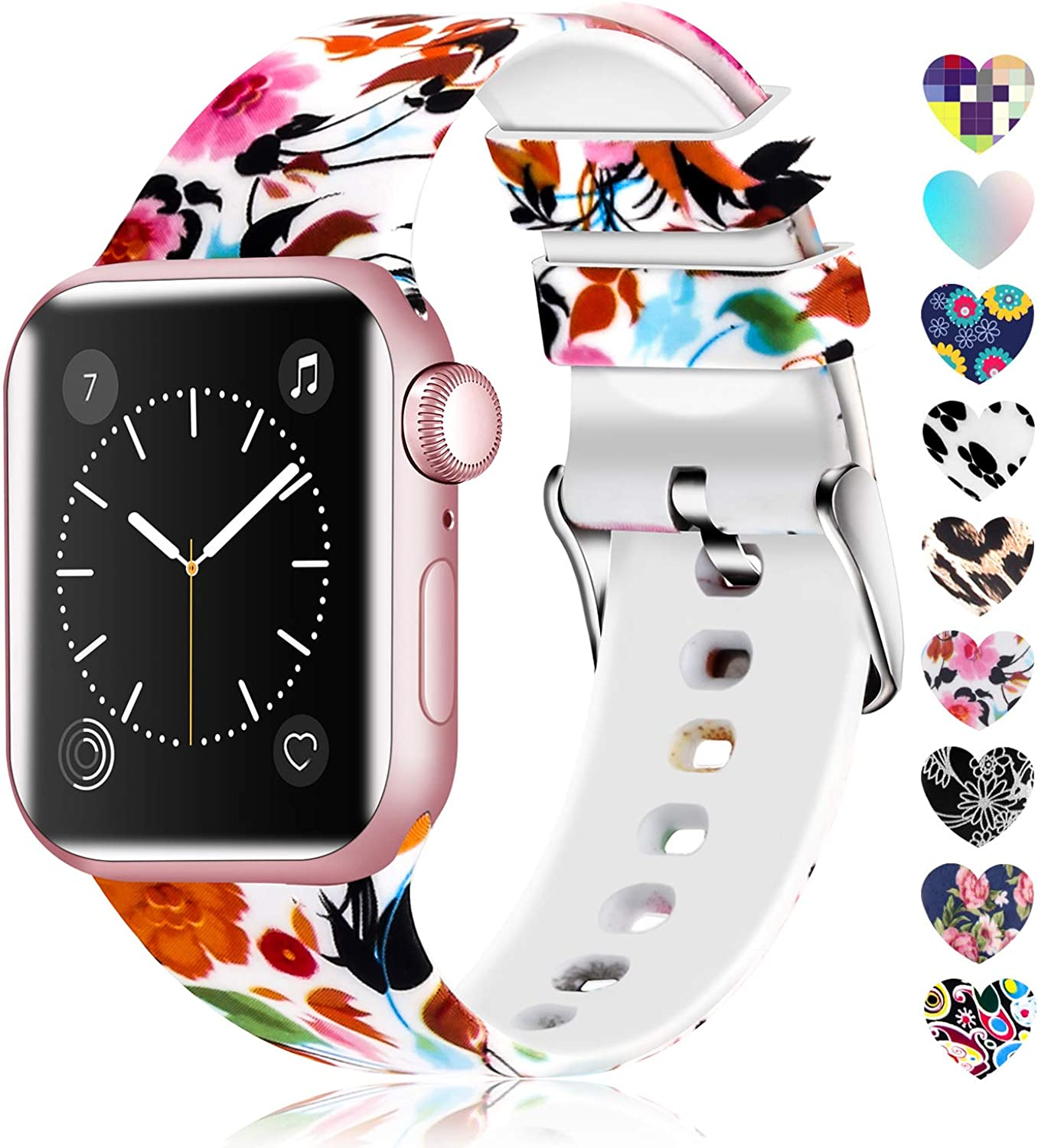 Lwsengme Compatible with Apple Watch Band 38mm 40mm 42mm 44mm, Soft Silicone Replacment Sport Bands Compatible with iWatch Series 6,Series 5,Series 4,Series 3,Series 2,Series 1,SE