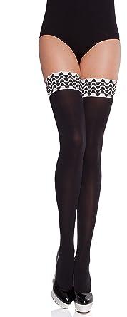 2d578abaf8 Merry Style Medias Autoadhesivas Opacas con Estampado Lencería Sexy Mujer  MS 197 (Negro