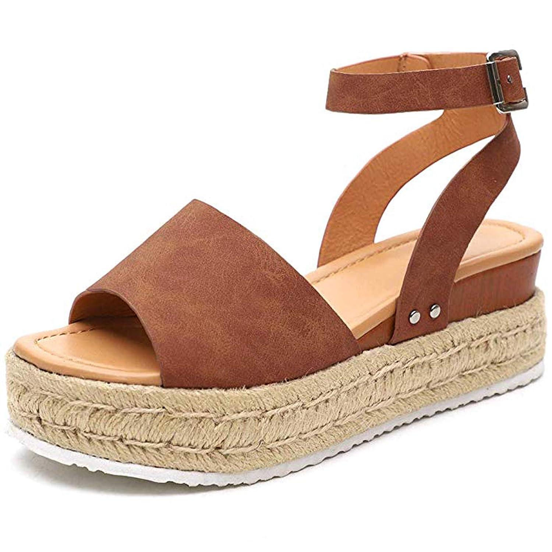 bcaf7b4e8db Ru Sweet Women's Espadrille Wedges Sandals Peep Toe PU Belt Buckle Blocking  Adjustable High Platform Ankle Strap Summer Shoes