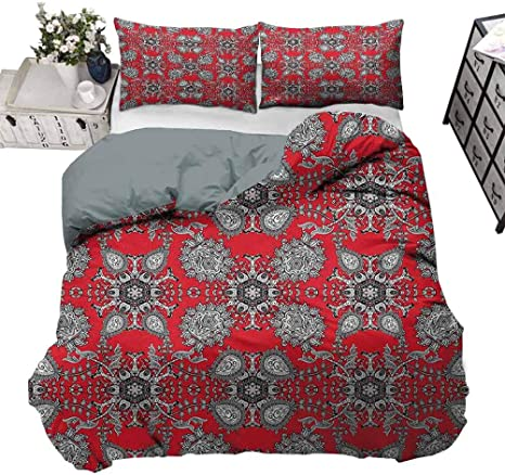Bedding Duvet Cover Set Red Bedding Lightweight And Soft Doodle Flower Ivy Swirls Classic Paisley Design Image Scarlet White Black Decorative 3 Piece Bedding Set With 2 Pillow Shams Twin