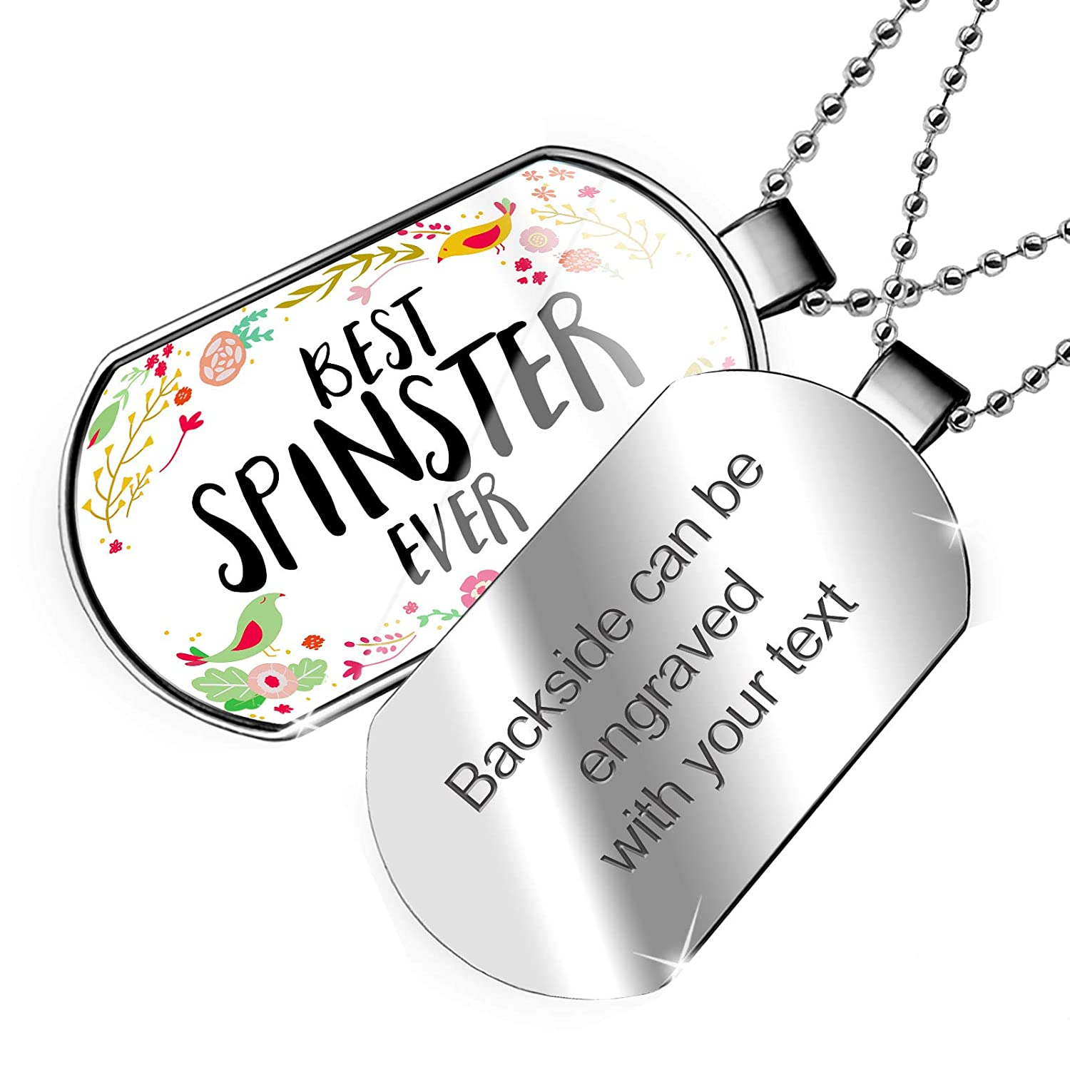 NEONBLOND Personalized Name Engraved Happy Floral Border Spinster Dogtag Necklace