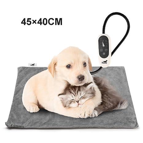 Toozey Manta Eléctrica para Perros y Gatos Interior, Ajustable Temporizador y Temperatrue Almohadilla Calefactora para Mascotas Gatos y Perros Recién ...