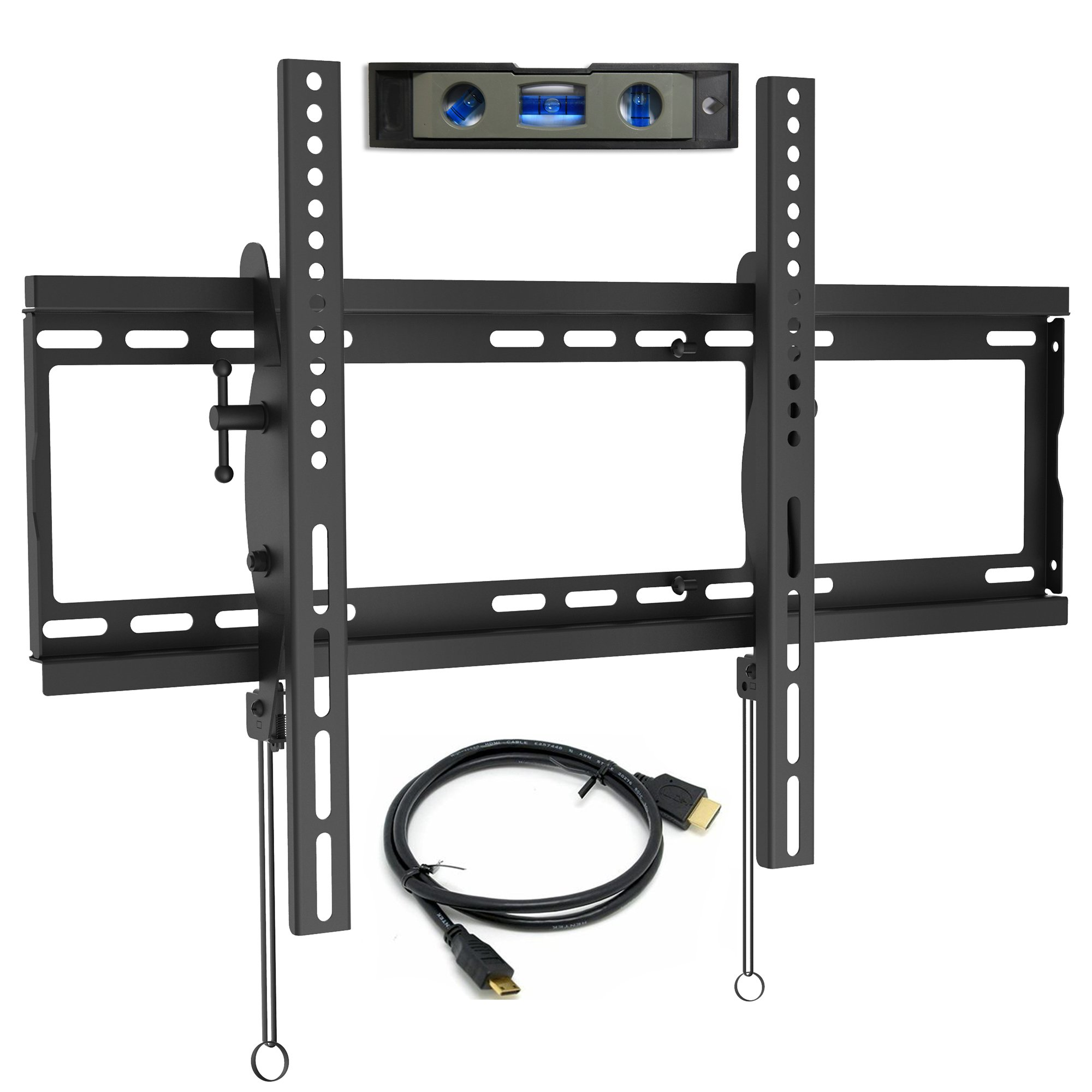 Everstone TV Wall Mount Tilting for 32-75'' LED,LCD and Plasma Flat Screen TVs,Curved TV,Low Profile Bracket up to VESA 600x400mm and 165 LBS,fits 16'' and 24'' Wall Studs,with HDMI Cable & Bubble Level