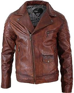 Mens Retro Real Leather Jacket Smart Casual Biker Tan Brown Slim Fit Zipped
