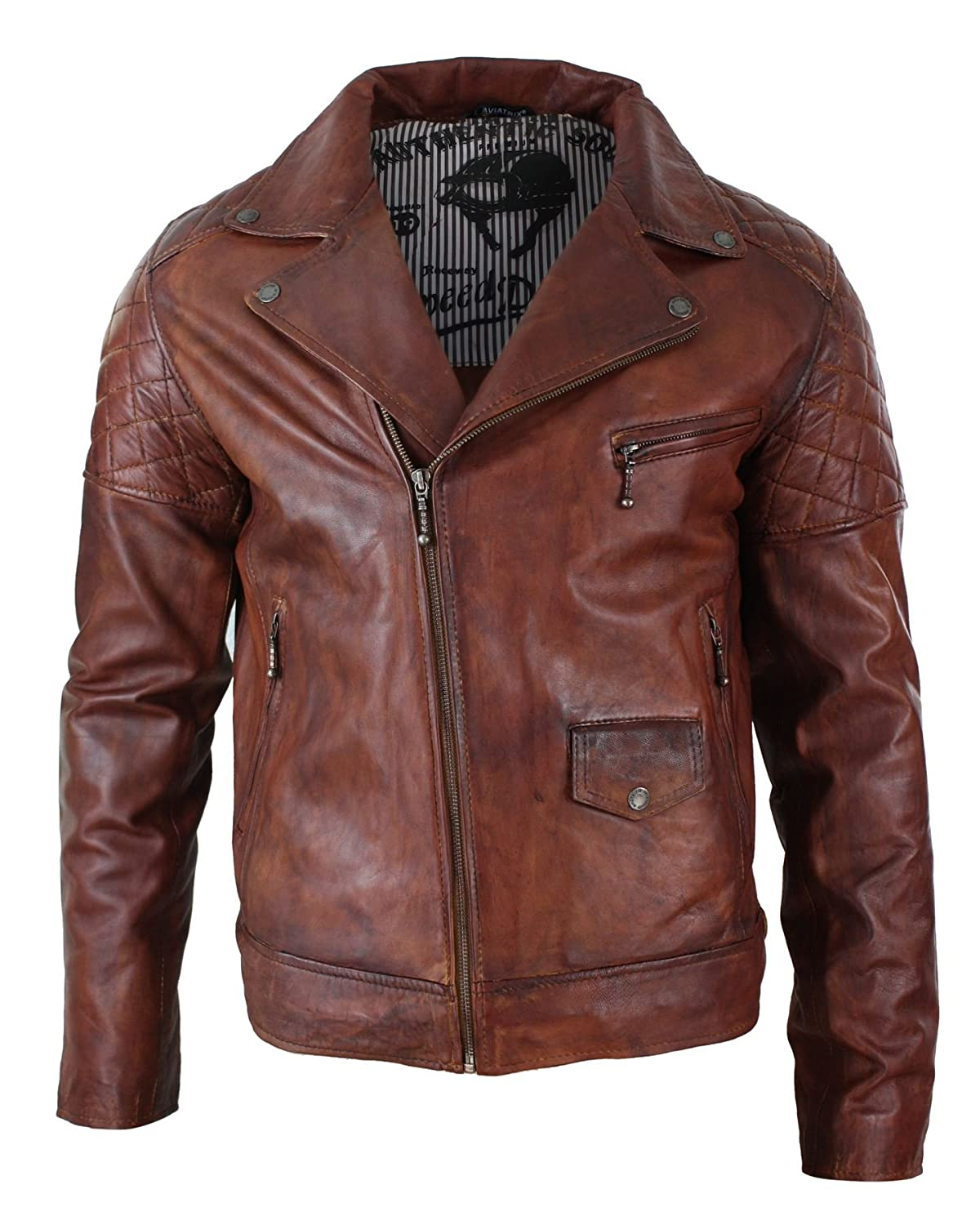 Aviatrix Mens Vintage Washed Tan Brown Real Leather Biker Jacket Cross Zip Retro Casual timber s